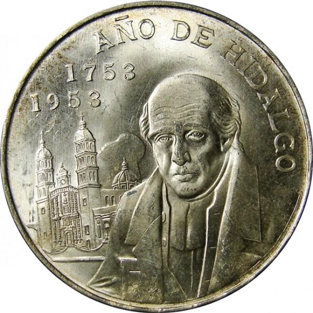 1953 Mexico Silver 5 Pesos Año de Hidalgo Avg Circ (ASW .6431 oz)