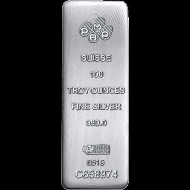 PAMP Suisse 100 Oz Cast Silver Bar (New w/Assay)