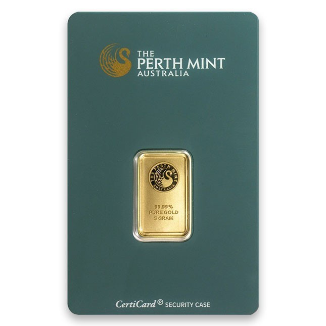 5 Gram Perth Gold Bar Front