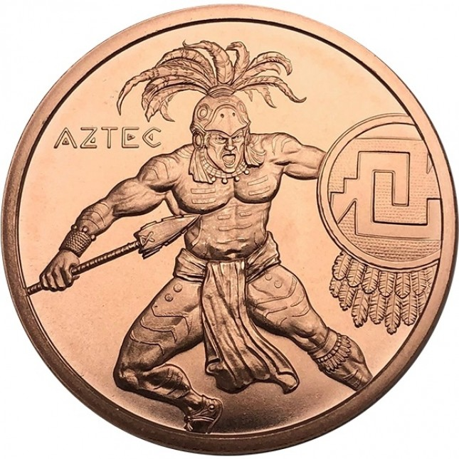 1 oz Copper Round | Aztec Warrior Series (BU)
