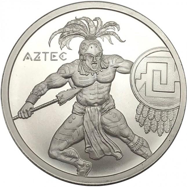 1 oz Aztec Warrior Silver Round