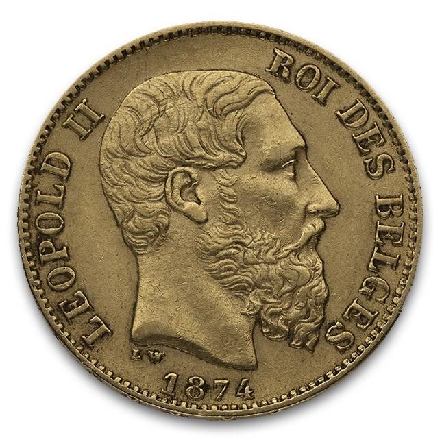 Belgium Leopold II 20 Francs 1867-19142