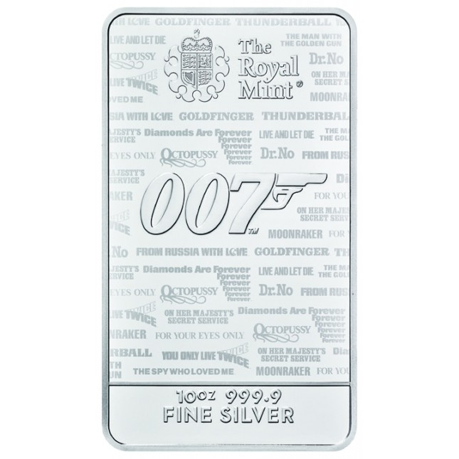 10 oz James Bond Silver Bar (New)