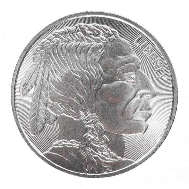 1 Oz Silver Round   Buffalo Radial Design (New)