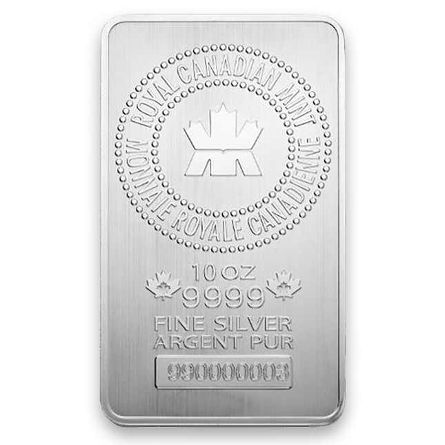 Royal Canadian Mint (RCM) 10 Oz Silver Bar Front