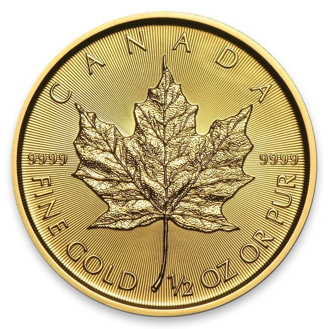 1/2 Oz Gold Canada Maple Leaf Reverse