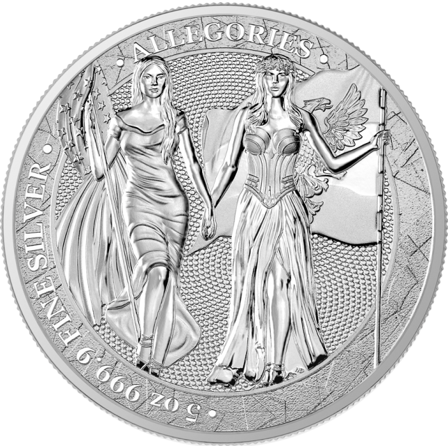 5 oz Silver Round | Columbia & Germania Allegories 2019 (BU)