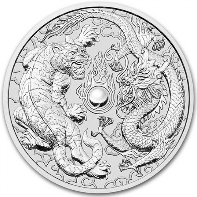 2018 Australia 1 oz Silver Dragon & Tiger (BU)
