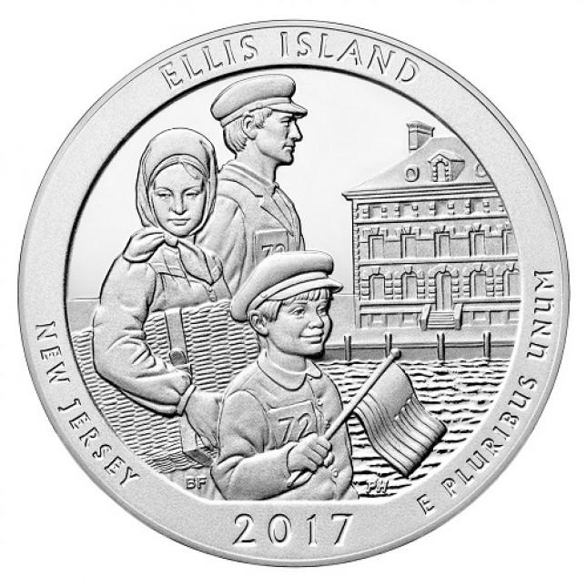 2017 Ellis Island 5 Oz Silver ATB Coin