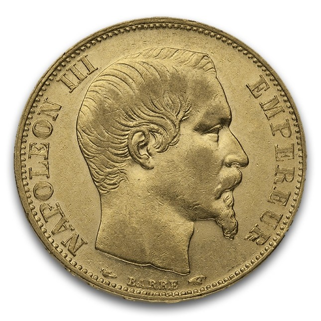 Gold 20 Francs Napoleon III Type 2 (Bare Head Style)