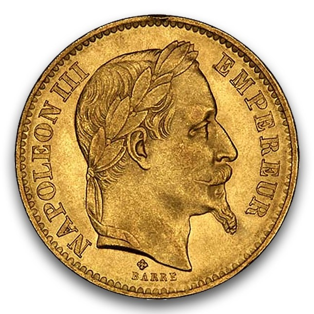 France Napoleon III Laureate 20 Francs