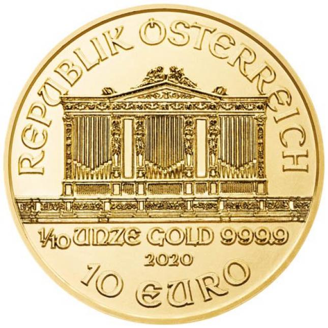 2020 Austria 1/10 Oz Gold Philharmonic