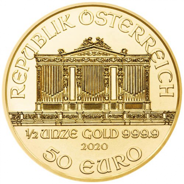 2020 Austria 1/2 Oz Gold Philharmonic