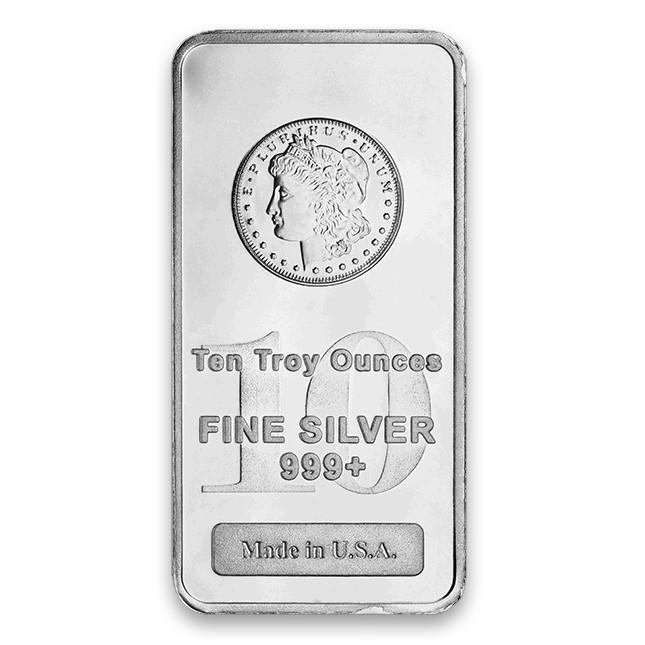 Highland Mint (HM) 10 Oz Morgan Design Silver Bar Front
