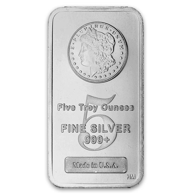 Highland Mint (HM) 5 Oz Morgan Design Silver Bar Front