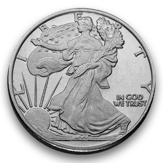 Highland Mint (HM) 1/2 Oz Walking Liberty Silver Round