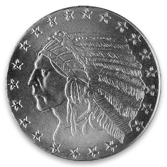 Highland Mint (HM) 1 Oz Incused Indian Silver Round