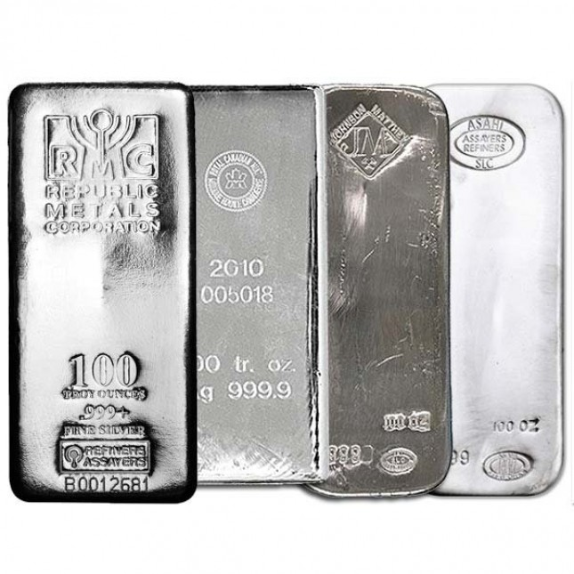 100 Oz Silver Bar - Secondary Market (.999+ Fine)