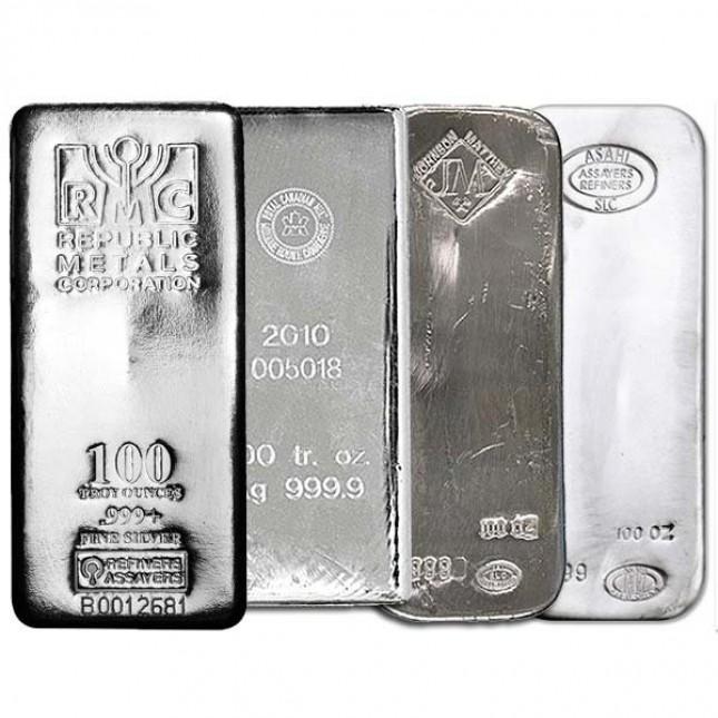 100 Oz Silver Bar - Random Design (New)