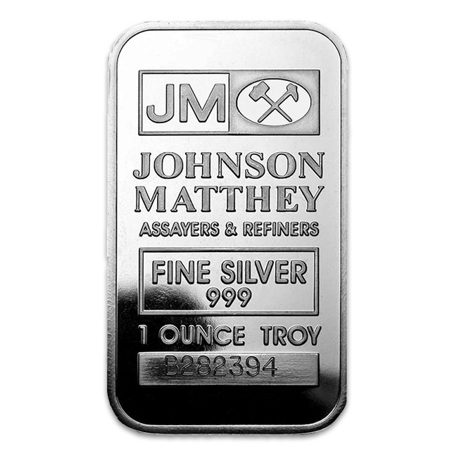Johnson Matthey 1 Oz Silver Bar (Sealed) Front