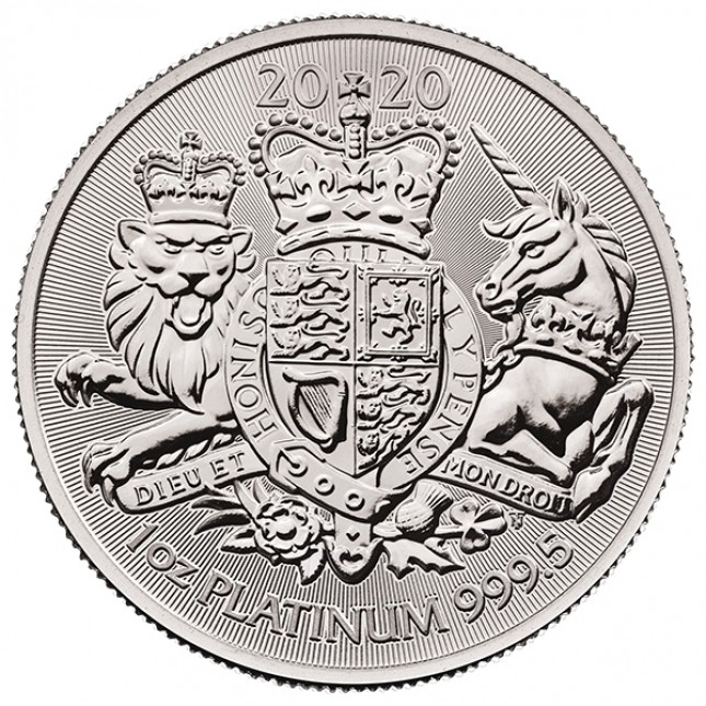 2020 Great Britain 1 oz Platinum The Royal Arms (BU)