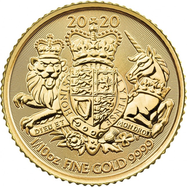 2020 Great Britain 1/10 oz Gold The Royal Arms (BU)
