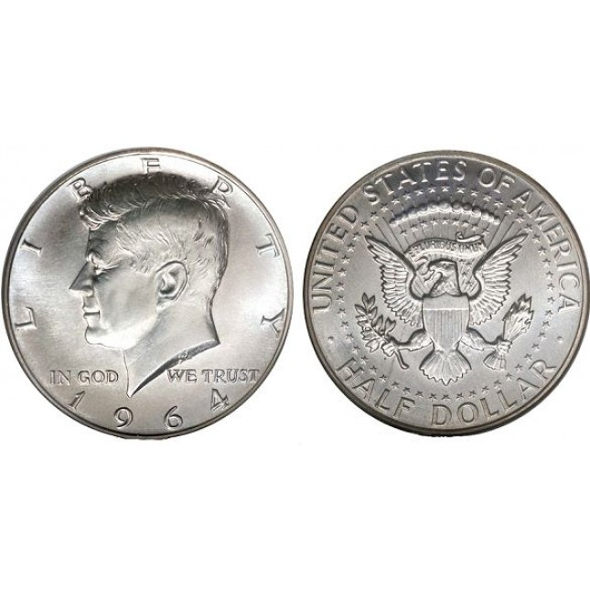 "90% ""Junk"" Silver 1964 Kennedy Half Dollars $1 FV (2 Coins)"