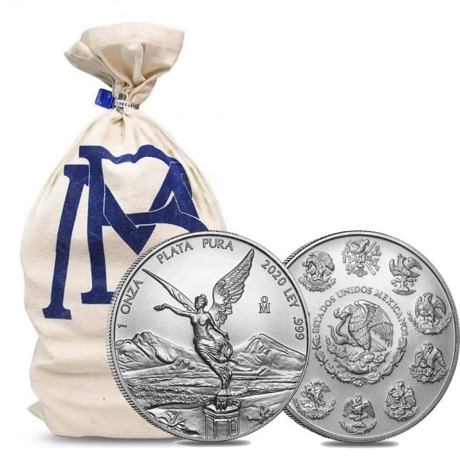 2020 1 Oz Mexican Silver Libertad Coin (BU) - Mint Bag of 450 Coins