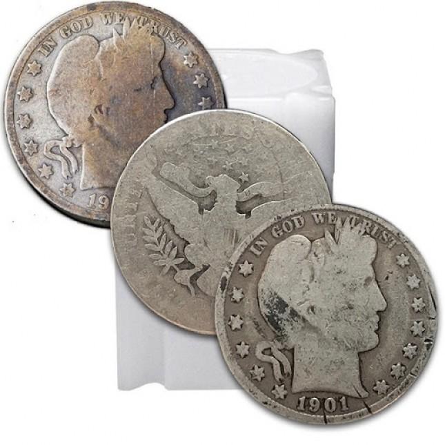 Tube of 90% Silver Barber Halves (LP) - $10 Face Value