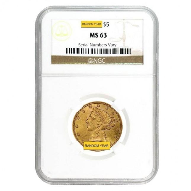$5 Liberty Gold Half Eagle NGC MS63