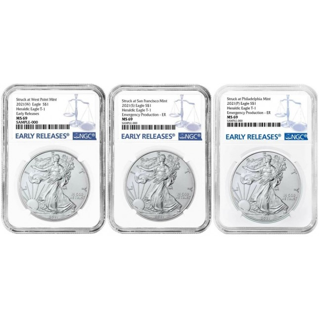 Complete Set - 2021 1 Oz American Silver Eagle Type 1 W/S/P Mints NGC MS69 Early Release (BU)