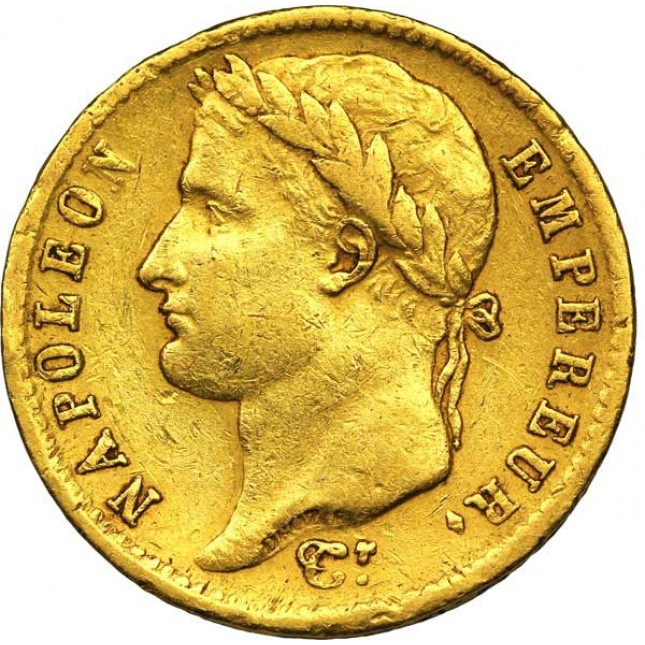 France Gold 20 Franc Napoleon I 1806-1815 (Average Circulated)