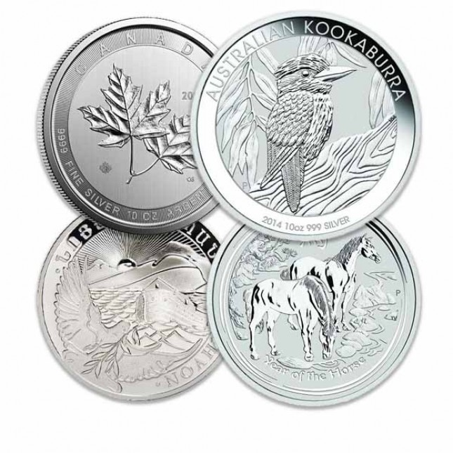 Off-Quality 10 Oz Silver Coins Gov't Minted (Random Design and Date)