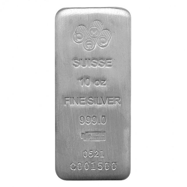 PAMP Suisse 10 Oz Cast Silver Bar (New w/Assay)