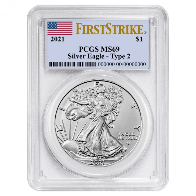 2021 1 Oz American Silver Eagle Type 2 PCGS MS69 First Strike