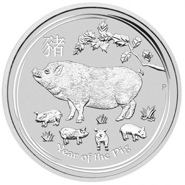 2019 Australia 1/2 Oz Silver Lunar Pig Coin (BU)