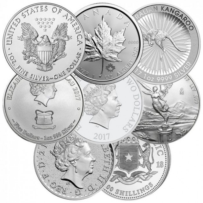 Off-Quality 1 Oz Silver Coins Gov't Minted (Random Design and Date)