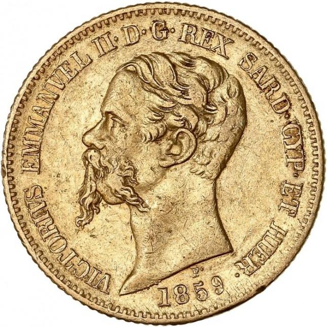 Italy Gold 20 Lire Sardinia Vittorio Emmanuel II 1850-1861 (Average Circulated)