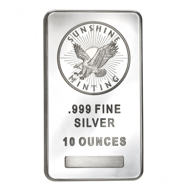 Sunshine Minting (SMI) 10 Oz Silver Bar