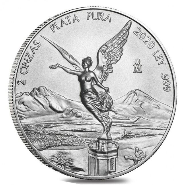 2020 2 Oz Mexican Silver Libertad Coin (BU)