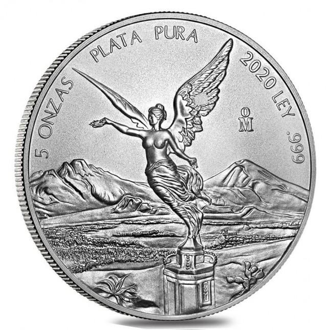 2020 5 Oz Mexican Silver Libertad Coin (BU)