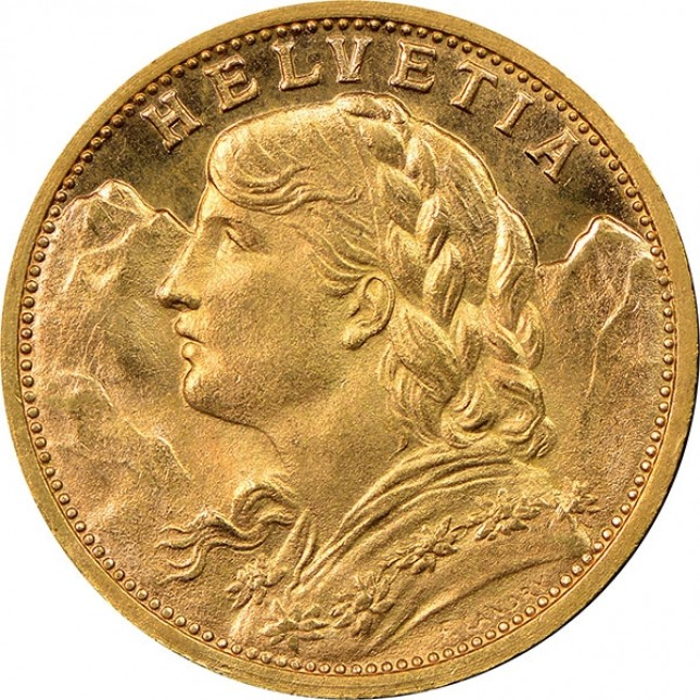 Swiss Gold 20 Francs Helvetia Obverse