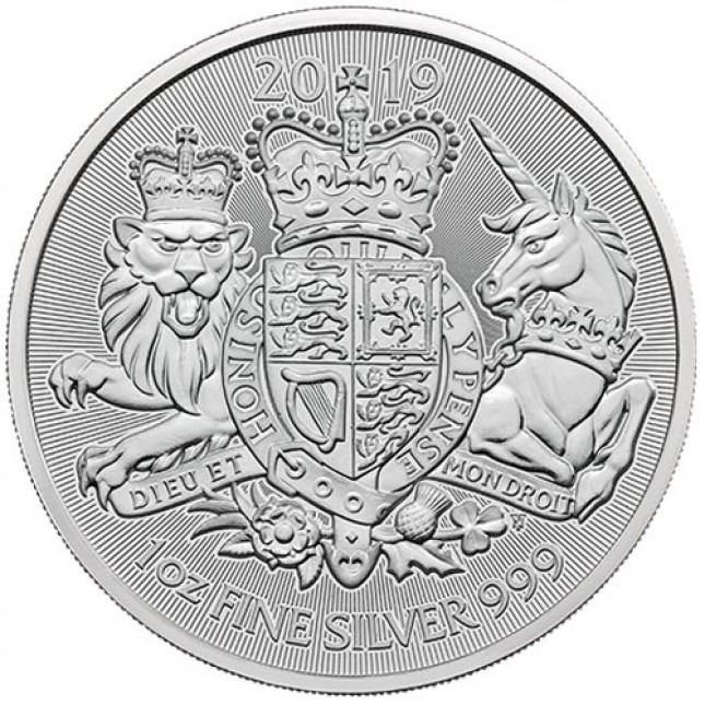 2019 Great Britain 1 oz Silver The Royal Arms BU