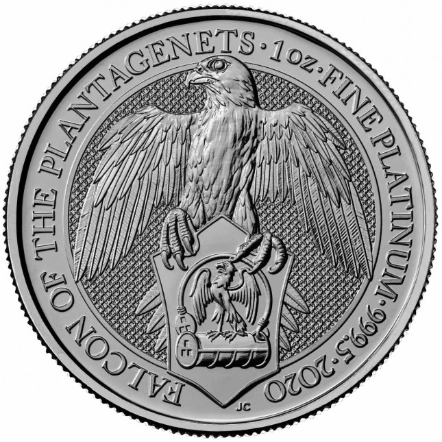2020 UK 1 Oz Platinum The Falcon of Plantagenets BU (Queen's Beasts Series)