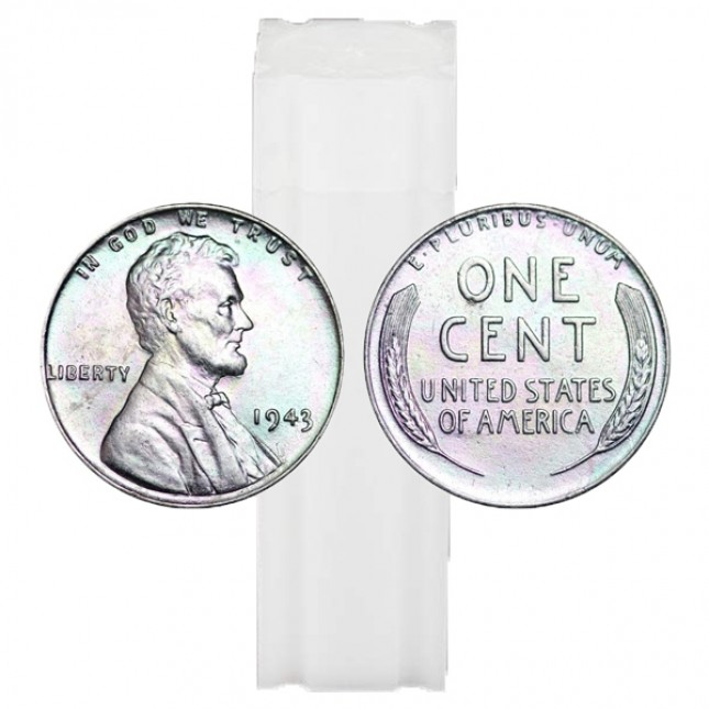 1943 Lincoln Steel Cent 50-Coin Roll Avg Circ