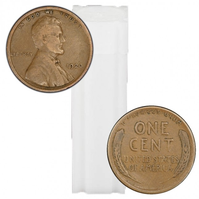 1920-1929 Lincoln Wheat Cent 50-Coin Roll Avg Circ