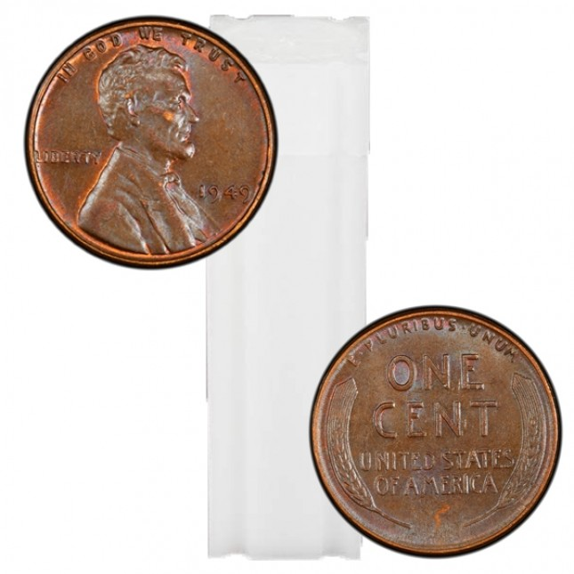 1940-1958 Lincoln Wheat Cent 50-Coin Roll Avg Circ