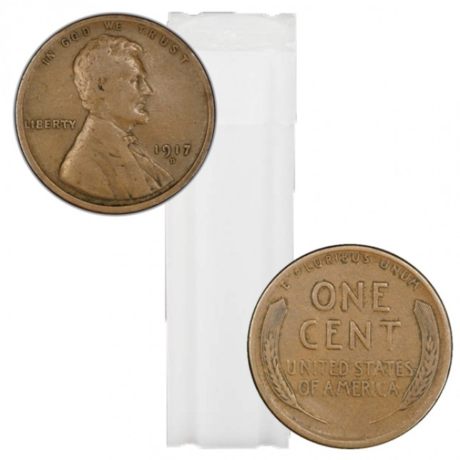 1909-1919 Lincoln Wheat Cent 50-Coin Roll Avg Circ