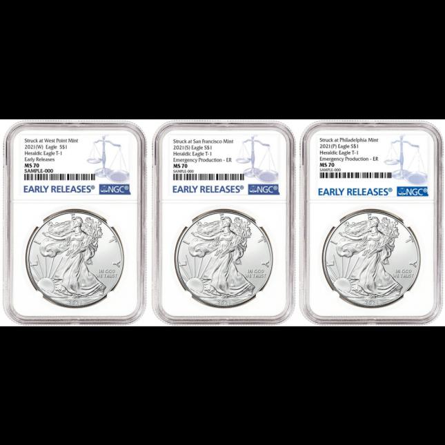 Complete Set - 2021 1 Oz American Silver Eagle Type 1 W/S/P Mints NGC MS70 (BU)