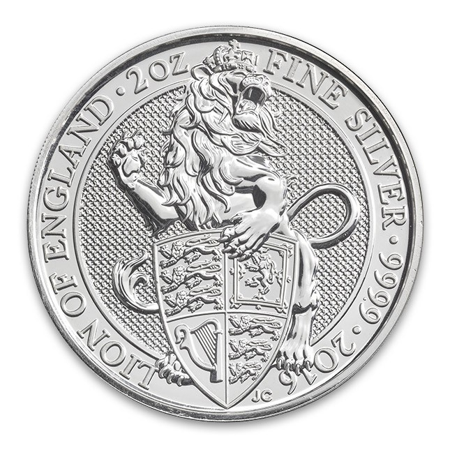 2016 UK 2 Oz Silver Queen's Beast Coin (BU)